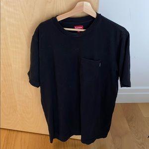 Supreme black tshirt with front pocket